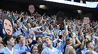 CHAPEL HILL, NC - FEBRUARY 25: University of North Carolina fans in the student section try to distract a free throw attempt during a game between NC State and North Carolina at Dean E. Smith Center on February 25, 2020 in Chapel Hill, North Carolina.
