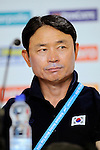 The Hague, Netherlands, June 13: Head coach Jin Soo Han of Korea during press conference after the field hockey placement match (Women - Place 7th/8th) between Korea and Germany on June 13, 2014 during the World Cup 2014 at Kyocera Stadium in The Hague, Netherlands. Final score 4-2 (2-0)  (Photo by Dirk Markgraf / www.265-images.com) *** Local caption ***