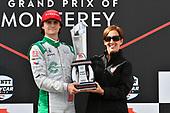 Colton Herta, Harding Steinbrenner Racing Honda celebrates on the podium
