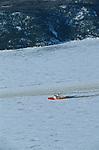 Le petit brise-glace de la garde côtière à l'assaut des glaces du fjord du Saguenay. Quebec en hiver. Canada.