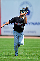 New Britain Rock Cats rightfielder Reynaldo Rodriguez (16) during a game versus the Portland Sea Dogs at Hadlock Field in Portland, Maine on May 17, 2014. (Ken Babbitt/Four Seam Images)