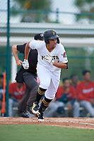 GCL Pirates Emilson Rosado (10) bats during a Gulf Coast League game against the GCL Twins on August 6, 2019 at Pirate City in Bradenton, Florida.  GCL Twins defeated the GCL Pirates 1-0 in the second game of a doubleheader.  (Mike Janes/Four Seam Images)