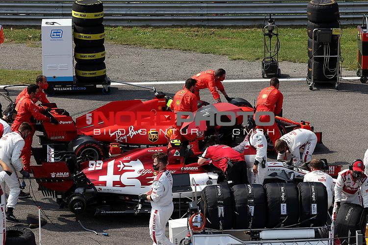 06.09.2020, Autodromo Nazionale di Monza, Monza, FORMULA 1 GRAN PREMIO HEINEKEN D'ITALIA 2020<br />,im Bild<br />Sebastian Vettel (GER#5), Scuderia Ferrari, Antonio Giovinazzi (ITA#99), Alfa Romeo Racing ORLEN<br /> <br /> Foto © nordphoto / Bratic