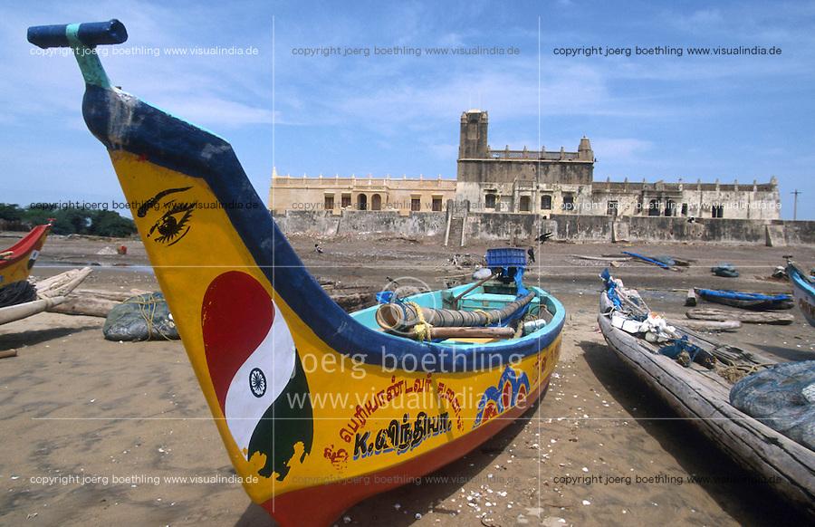 INDIA Tranquebar, in 18th century a former danish trading post in Tamil Nadu, old Fort Danesborg / INDIEN Tranquebar, war eine ehemalige daenische Handelsniederlassung im 18. Jh., altes Fort und Museum, Danesborg