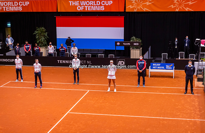 Den Bosch, The Netherlands, April 16, 2021,    Maaspoort, Billy Jean King Cup  Netherlands -  China : Opening Ceremony,  team The Netherlands.<br /> Photo: Tennisimages/Henk Koster