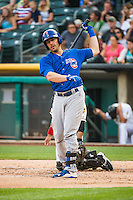 Taylor Teagarden (21) of the Iowa Cubs at bat against the Salt Lake Bees in Pacific Coast League action at Smith's Ballpark on August 20, 2015 in Salt Lake City, Utah. The Cubs defeated the Bees 13-2. (Stephen Smith/Four Seam Images)