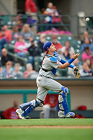 Buffalo Bisons catcher Reese McGuire (7) fields the ball during an International League game against the Rochester Red Wings on May 31, 2019 at Frontier Field in Rochester, New York.  Rochester defeated Buffalo 5-4 in ten innings.  (Mike Janes/Four Seam Images)