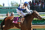 May 1 2015: Molly Morgan with Corey Lanerie wins the 30th running of the Grade I La Troienne for fillies & mares, 3-year olds & up, going 1 1/16 mile at Churchill Downs . Trainer Dale Romans. Owner Bill Cubbedge. Sue Kawczynski/ESW/CSM