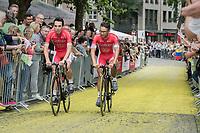 "Nacer Bouhanni (FRA/Cofidis) on the Yellow Brick Road<br /> <br /> ""Le Grand Départ"" <br /> 104th Tour de France 2017 <br /> Team Presentation in Düsseldorf/Germany"