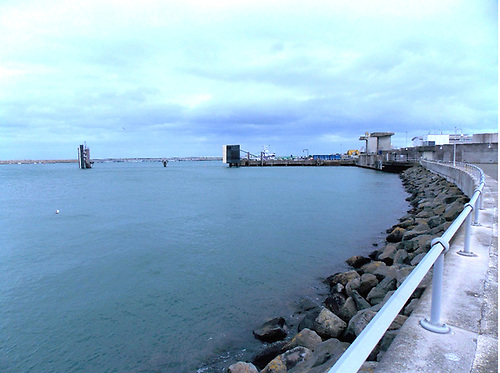 This view to the south-east from the marina breakwater shows a potential site for an all-tide slipway