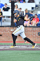 Bristol Pirates Daniel Rivero (15) swings at a pitch during game three of the Appalachian League, West Division Playoffs against the Johnson City Cardinals at TVA Credit Union Ballpark on August 31, 2019 in Johnson City, Tennessee. The Cardinals defeated the Pirates 7-4 to even the series at 1-1. (Tony Farlow/Four Seam Images)