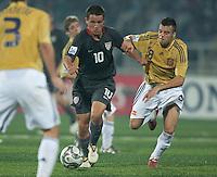 Luis Gil (10) driblles agains Eduardo Ramos (8). Spain defeated the U.S. Under-17 Men National Team  2-1 at Sani Abacha Stadium in Kano, Nigeria on October 26, 2009.