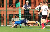 Saturday 5th September 2021<br /> <br /> Jules Fenelon scores a second try during U18 Schools inter-pro between Ulster Rugby and Leinster at Newforge Country Club, Belfast, Northern Ireland. Photo by John Dickson/Dicksondigital