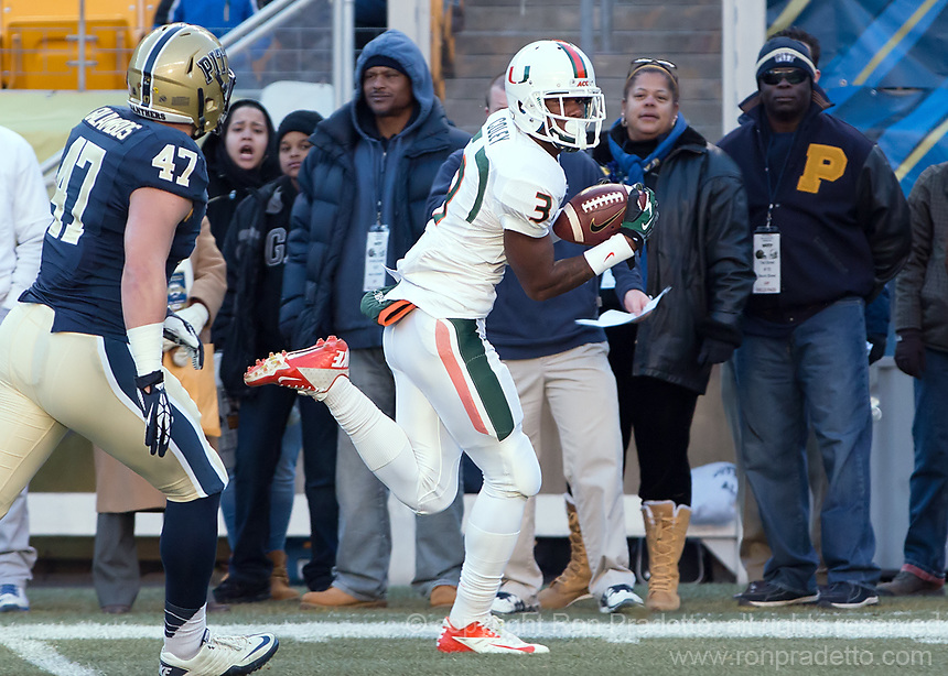 Miami wide receiver Stacy Coley (3) scores on a 34-yard touchdown reception. The Miami Hurricanes defeated the Pitt Panthers 41-31 at Heinz Field, Pittsburgh, Pennsylvania on November 29, 2013.