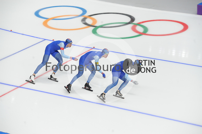 OLYMPIC GAMES: PYEONGCHANG: 18-02-2018, Gangneung Oval, Long Track, Team Pursuit Men, Team Norway, Sindre Henriksen, Simen Spiler Nilsen, Sverre Lunde Pedersen, ©photo Martin de Jong
