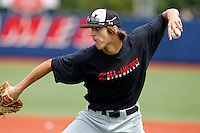 First baseman Ryan Ripken #20 of Gilman High School in Maryland throws to second during practice for the Under Armour All-American Game presented by Baseball Factory at Les Miller Field on August 12, 2011 in Chicago, Illinois.  Ryan is the son of Hall of Fame shortstop Cal Ripken Jr.  (Mike Janes/Four Seam Images)