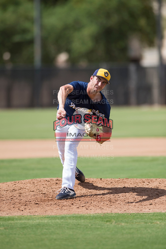 Milwaukee Brewers relief pitcher Justin Bullock (90) follows through on his delivery during an Instructional League game against the Los Angeles Dodgers at Maryvale Baseball Park on September 24, 2018 in Phoenix, Arizona. (Zachary Lucy/Four Seam Images)