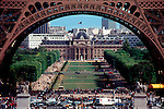 Paris, France, The Champs de Mars and the Ecole Militaire beneath the legs of the Eiffel Tower.