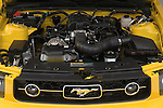 High angle engine detail of a 2006 Ford Mustang Coupe