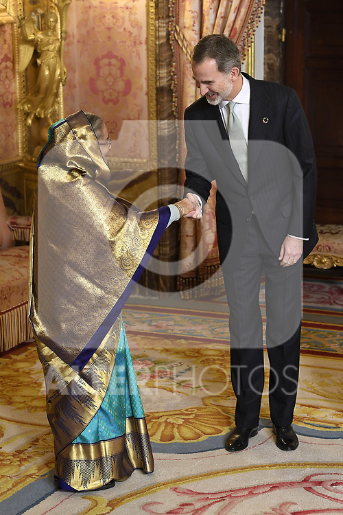 King Felipe VI of Spain (r) receives Prime Minister of Bangladesh Sheij Hasina because of the United Nations conference for the Climate Summit 2019 (COP25) at the Royal Palace. December 2,2019. (ALTERPHOTOS/Pool/Carlos Alvarez)