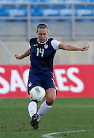 US's Whitney Engen kicks the ball during their Algarve Women's Cup soccer match at Algarve stadium in Faro, March 13, 2013.  .Paulo Cordeiro/ISI