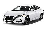 2020 Nissan Sentra SV 4 Door Sedan Angular Front automotive stock photos of front three quarter view
