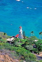 The Diamond Head Lighthouse as seen from atop Diamond Head Crater.