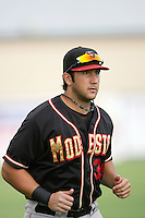Mike Zuanich of the Modesto Nuts during game against the Lancaster JetHawks at Clear Channel Stadium in Lancaster,California on July 15, 2010. Photo by Larry Goren/Four Seam Images