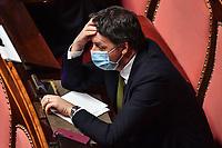 The secretary of Italia Viva Mattei Renzi during the Italian Premier's  information at the Senate about the government crisis..<br /> Rome(Italy), January 19th 2021<br /> Photo Pool Alessandro Di Meo/Insidefoto