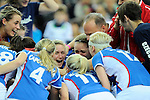 Leipzig, Germany, February 08: Team of Czech Republic celebrates after winning the women bronze medal match against Austria (red) on February 8, 2015 at the FIH Indoor Hockey World Cup at Arena Leipzig in Leipzig, Germany. Final score 0-2 after shoot out (0-0). (Photo by Dirk Markgraf / www.265-images.com) *** Local caption ***