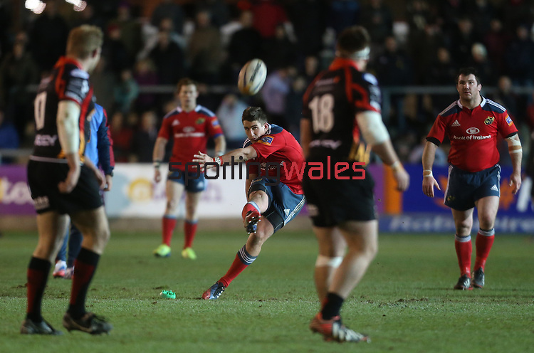 Outside half Ian Keatley kicks the match winning points with a late penalty for Munster.<br /> RaboDirect Pro12<br /> Newport Gwent Dragons v Munster<br /> Rodney Parade - Newport<br /> 29.11.13<br /> ©Steve Pope-SPORTINGWALES