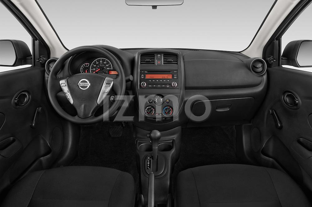 Stock photo of straight dashboard view of a 2015 Nissan Versa 1.6 Sv Cvt 4 Door Sedan