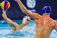 14-02-2021: Waterpolo: France v Russia: Rotterdam<br /> <br /> ROTTERDAM, NETHERLANDS - FEBRUARY 14: Alexandre Bouet of France, Konstantin Kharkov of Russia during the Olympic Waterpolo Qualification Tournament 2021 match between France and Russia at Zwemcentrum Rotterdam on February 14, 2021 in Rotterdam, Netherlands (Photo by Marcel ter Bals/Orange Pictures)