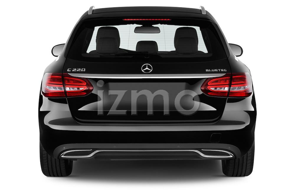 Straight rear view of 2014 Mercedes Benz C-CLASS Avantgarde 5 Door Wagon 2WD stock photo