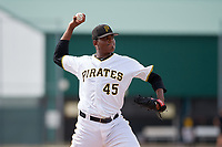 Pittsburgh Pirates pitcher Angel German (31) delivers a pitch during an Instructional League game against the Detroit Tigers on October 6, 2017 at Pirate City in Bradenton, Florida.  (Mike Janes/Four Seam Images)