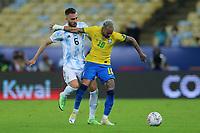 10th July 2021, Estádio do Maracanã, Rio de Janeiro, Brazil. Copa America tournament final, Argentina versus Brazil;  Germán Pezzella of Argentina and Neymar of Brazil