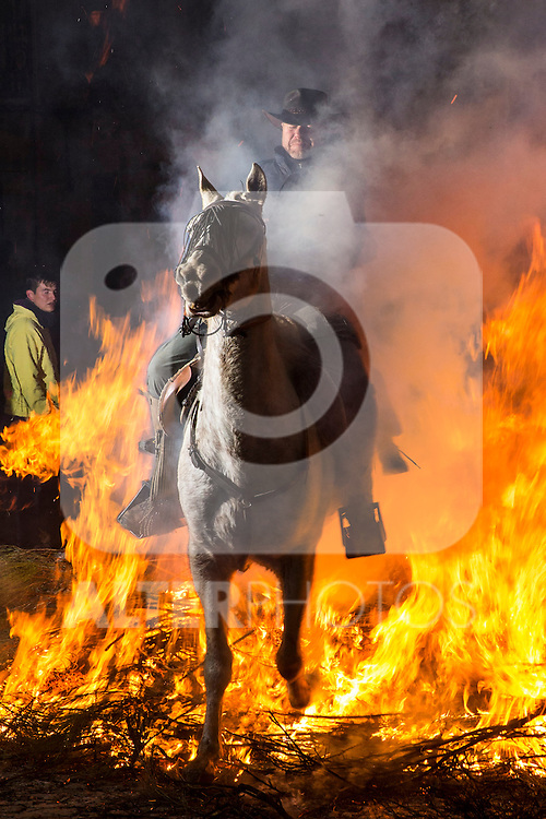 A horseman jumps over a bonfire in the Spanish  village of San Bartolome de Pinares in the province of Avila, Castile and Leon, Spain, during the opening of the traditional religious festival Luminarias; in honour of San Antonio Abad (Saint Anthony), patron saint of animals. January  16, 2017. (ALTERPHOTOS/Rodrigo Jimenez)
