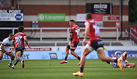 5th September 2020; Kingsholm Stadium, Gloucester, Gloucestershire, England; English Premiership Rugby, Gloucester versus London Irish; Jake Polledri of Gloucester intercepts the pass from Terrence Hepetema of London Irish and puts Lloyd Evans of Gloucester through to score