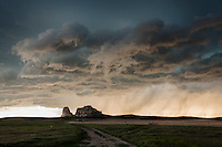"""Thunderstorm clouds at sunset above """"Jail Rock"""" & """"Courthouse Rock"""" in Nebraska, May 20, 2014"""