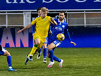 5th April 2021; Palmerston Park, Dumfries, Scotland; Scottish Cup Third Round, Queen of the South versus Hibernian; Josh Doig of Hibernian skips past the challenge from Gregor Buchanan of QOTS