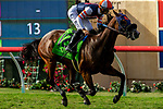 """DEL MAR, CA  AUGUST 18:  #12 Fashion Business, ridden by Flavien Prat, wins the Del Mar Handicap by The Japan Racing Association (Grade ll), Breeders' Cup """"Win and You're In Turf Division"""", on August 18, 2018 at Del Mar Thoroughbred Club in Del Mar, CA. (Photo by Casey Phillips/Eclipse Sportswire/Getty Images"""
