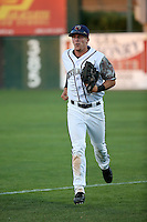 Myles Straw (7) of the Lancaster JetHawks returns from the outfield during a game against the San Jose Giants at The Hanger on August 13, 2016 in Lancaster, California. Lancaster defeated San Jose, 16-2. (Larry Goren/Four Seam Images)