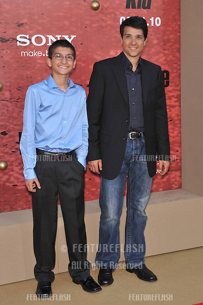 """Ralph Macchio, star of the original movie, & son Daniel at the Los Angeles premiere of """"The Karate Kid"""" at Mann Village Theatre, Westwood..June 7, 2010  Los Angeles, CA.Picture: Paul Smith / Featureflash"""