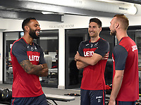 Swansea City players in the gym on their first day back for pre season.