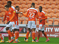 Blackpool's Sullay Kaikai (right) celebrates scoring the opening goal with team-mate CJ Hamilton<br /> <br /> Photographer Kevin Barnes/CameraSport<br /> <br /> The EFL Sky Bet League One - Blackpool v Milton Keynes Dons - Saturday 24 October 2020 - Bloomfield Road - Blackpool<br /> <br /> World Copyright © 2020 CameraSport. All rights reserved. 43 Linden Ave. Countesthorpe. Leicester. England. LE8 5PG - Tel: +44 (0) 116 277 4147 - admin@camerasport.com - www.camerasport.com