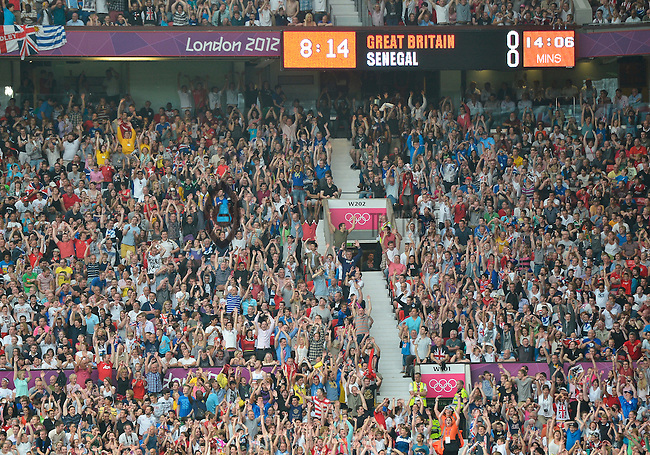 July 26, 2012..View of the spectators.Great Britain vs Senegal Football match during 2012 Olympic Games at Old Trafford in Manchester, England. Senegal held Great Britain to a 1-1 draw...(Credit Image: © Mo Khursheed/TFV Media)