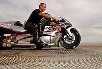 Nov. 1, 2008; Las Vegas, NV, USA: NHRA pro stock motorcycle rider Craig Treble during qualifying for the Las Vegas Nationals at The Strip in Las Vegas. Mandatory Credit: Mark J. Rebilas-