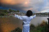 """UKRAINE, Uman, 2008/09..One of the most intensive moments of Rosh Hashanah takes place during """"Tashlich"""" or """"casting off'"""", when thousands of Hasidic pilgrims gather around a lake to pray and to symbolically """"cast their sins into the sea."""" .© Cyril Horiszny / EST&OST"""