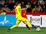 Spain's Sergio Reguilon and Romania's Boboc Radu  during the International Friendly match on 21th March, 2019 in Granada, Spain. (ALTERPHOTOS/Manu R.B.)