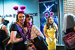"""© Joel Goodman - 07973 332324 . Manchester , UK . 05/04/2015 . Women wearing fancy dress outside """" The Birdcage """" on Withy Grove in Manchester City Centre . Revellers on a Saturday night out during the Easter Bank Holiday weekend . Photo credit : Joel Goodman"""